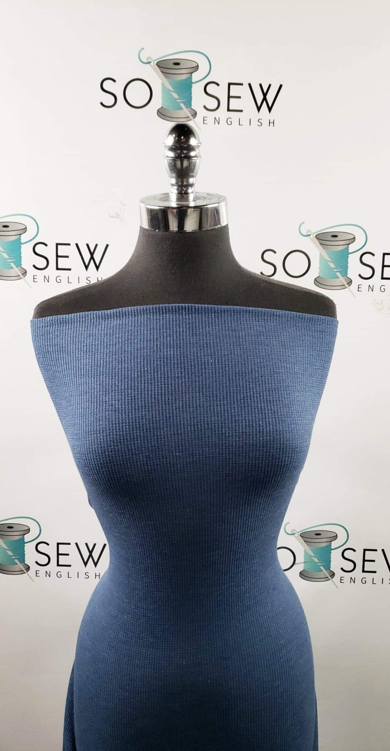 Solid Denim Blue -Thermal Knit - By the yard