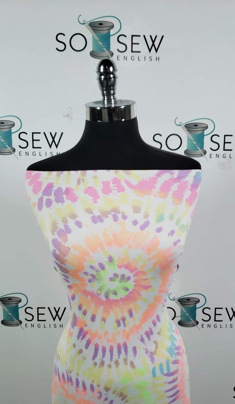 White/Neon Tie Dye  - Double Brushed Poly Spandex -By The Yard