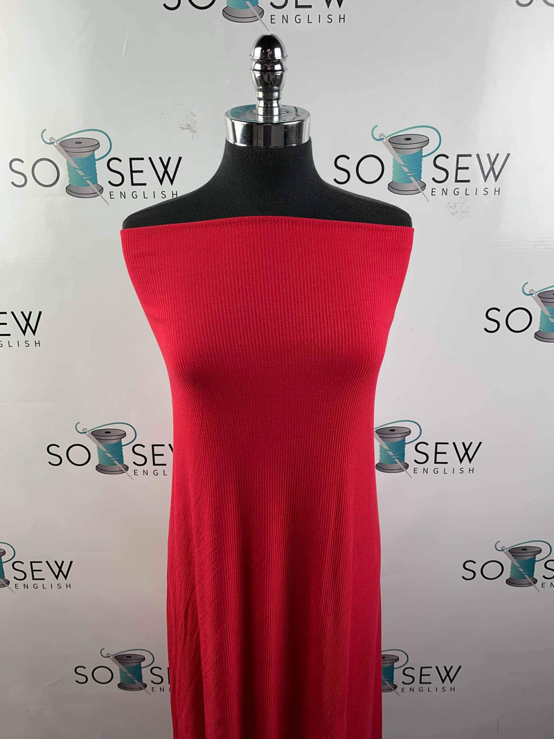 Solid Red - Ribbed Rayon Spandex -By the yard