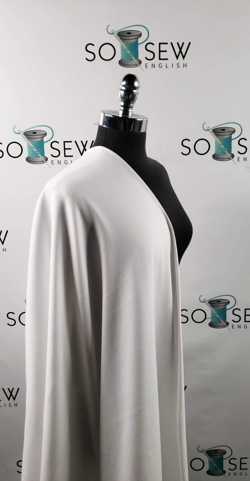 Solid White  - 1X1 Rib Cotton Spandex - By The Yard