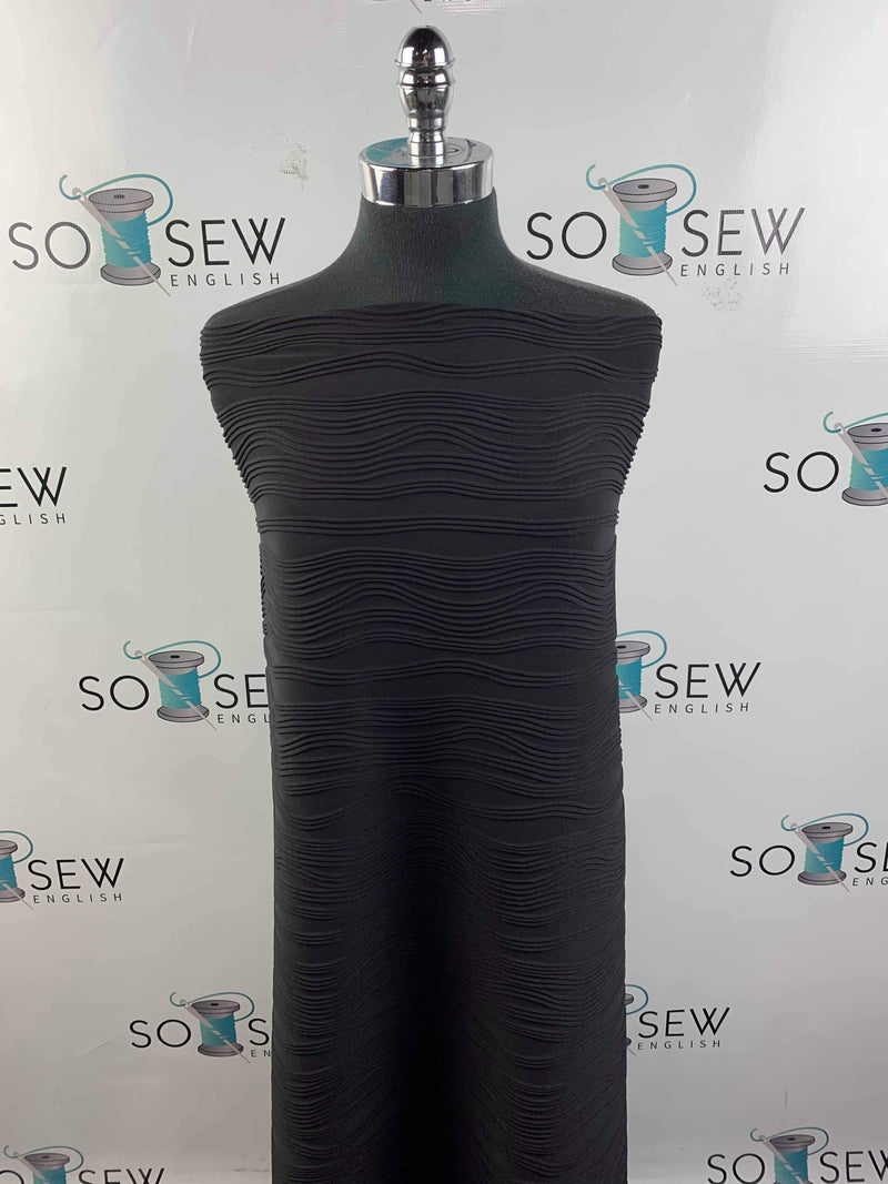 Solid BLACK - Wave Textured ITY Knit - By the yard