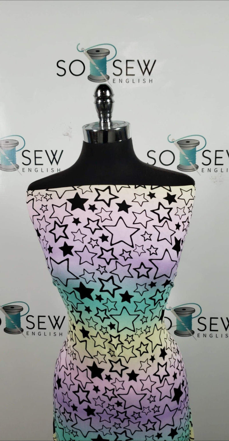 Ombre Stars - Double Brushed Poly Spandex -By The Yard