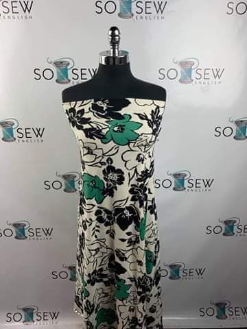 IVORY/BLACK/GREEN FLORAL - Double Brushed Poly Spandex -By The Yard