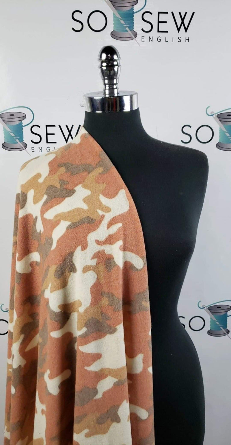 Earth Tones Camo - Brushed Hacci - By The Yard