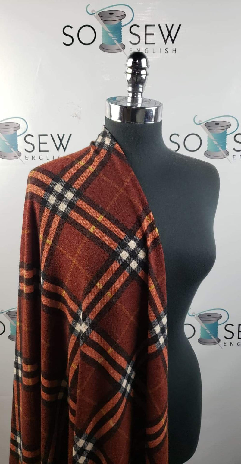 Rust CAMDEN Diagonal Plaid -  Hacci Sweater Knit- By The Yard