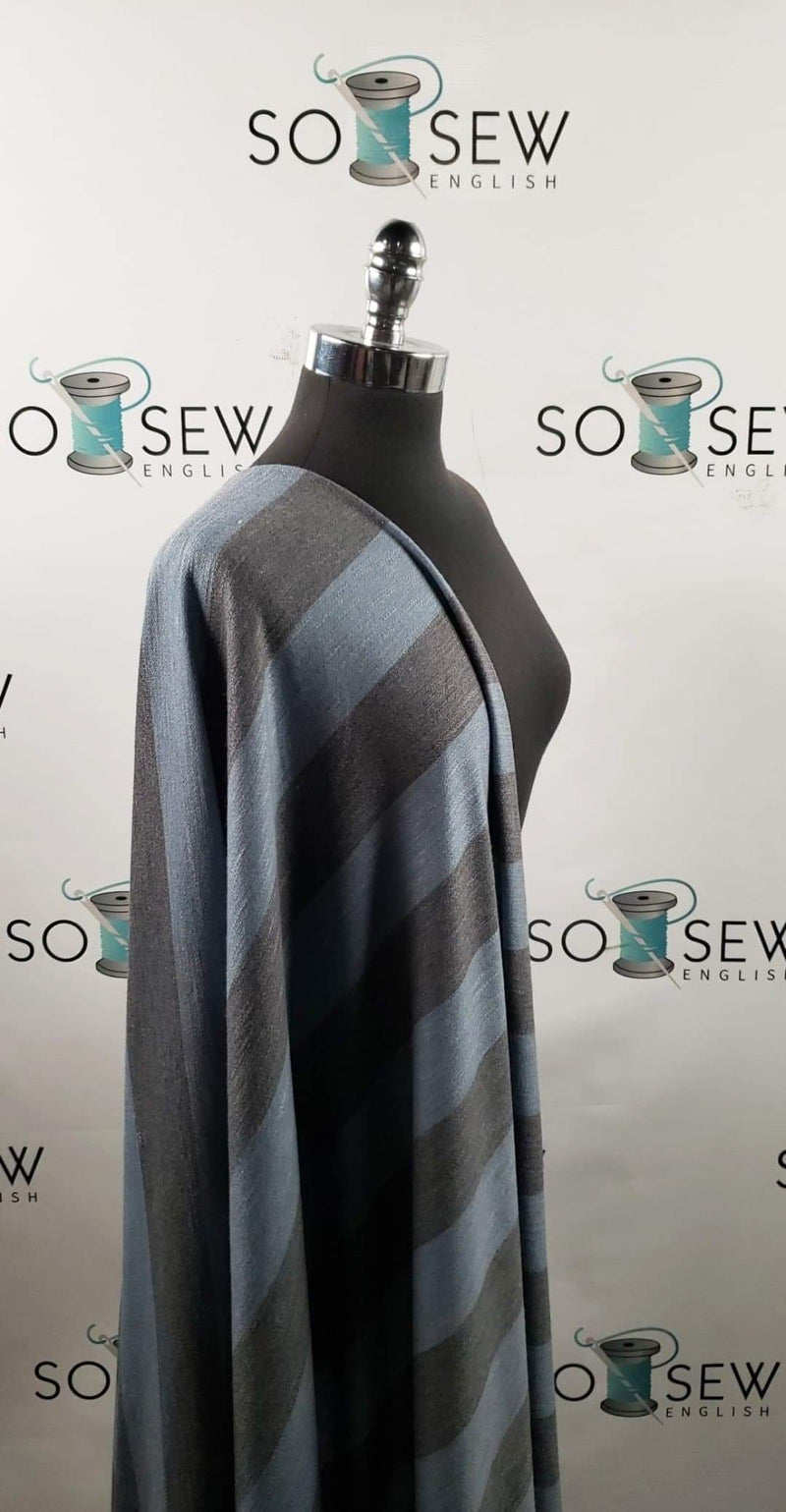Teal/Charcoal Stripe - Right Side Loop French Terry - By the yard