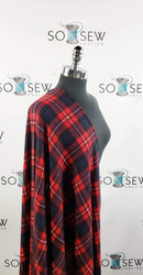 Red/Black Plaid - Hacci Sweater Knit- By The Yard
