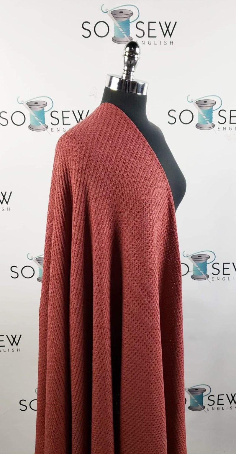 Solid Marsala - Waffle Knit - By the yard