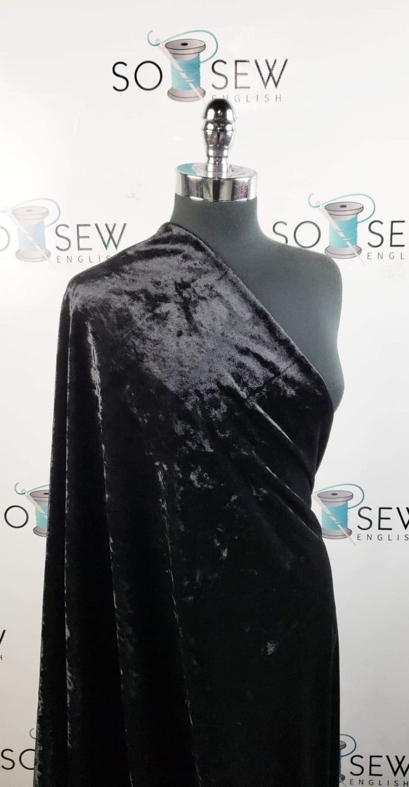 Solid Black - Crushed Stretch VELVET - By the yard