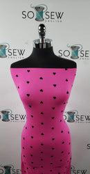 Fuchsia/Black HEARTS- Double Brushed Poly Spandex -By The Yard