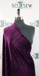 Solid Dark Plum - Pleated Stretch Velvet - By the yard