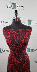 Red/Black LACE PRINT - Double Brushed Poly Spandex -By The Yard