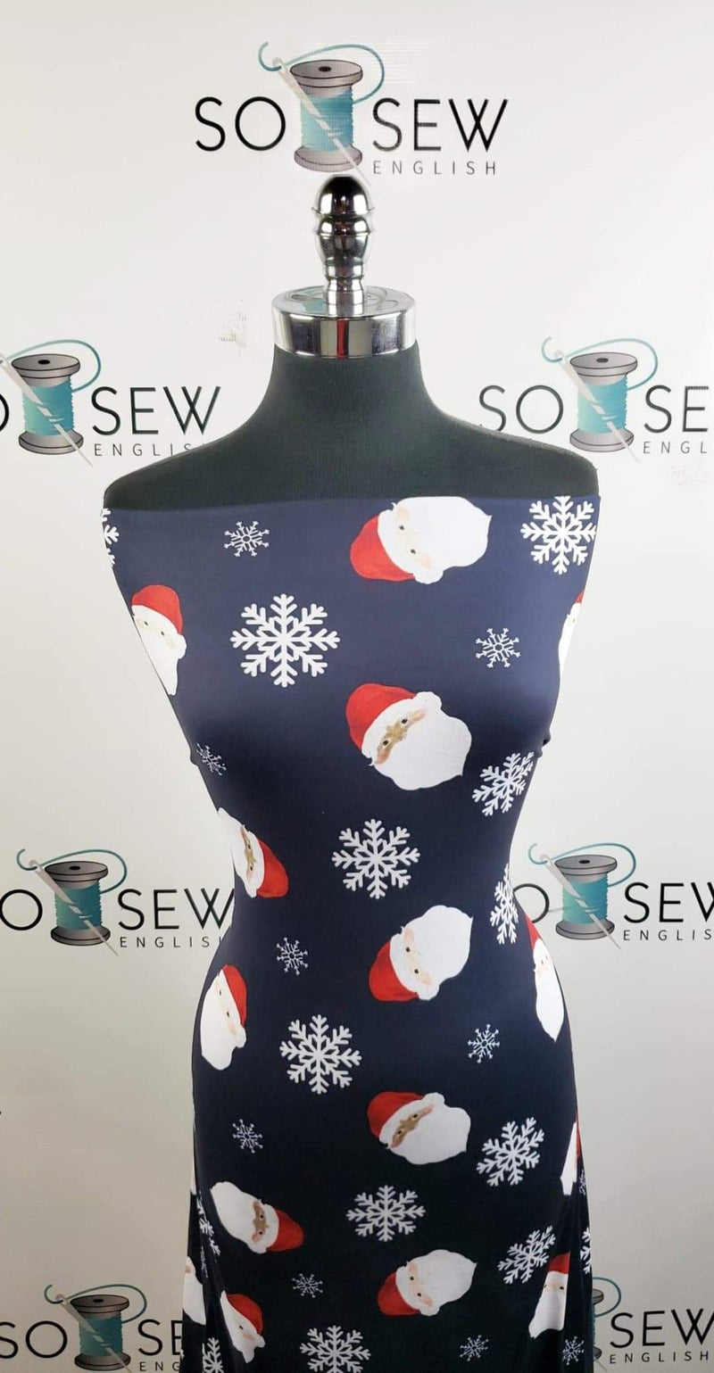 Navy/Red Santa/Snowflake - Double Brushed Poly Spandex - By The Yard