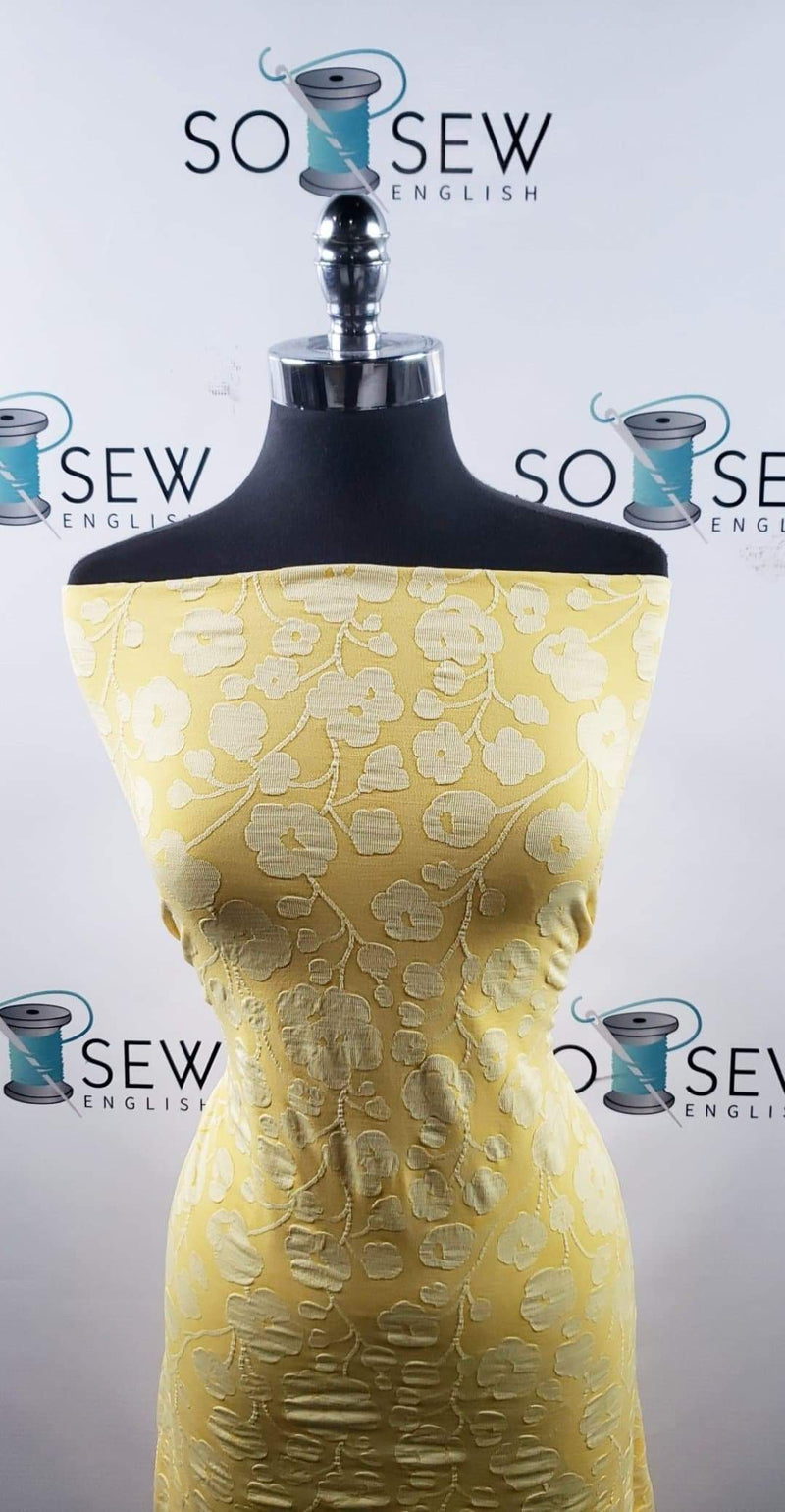 Yellow Floral - Poly Spandex Knit - By the yard