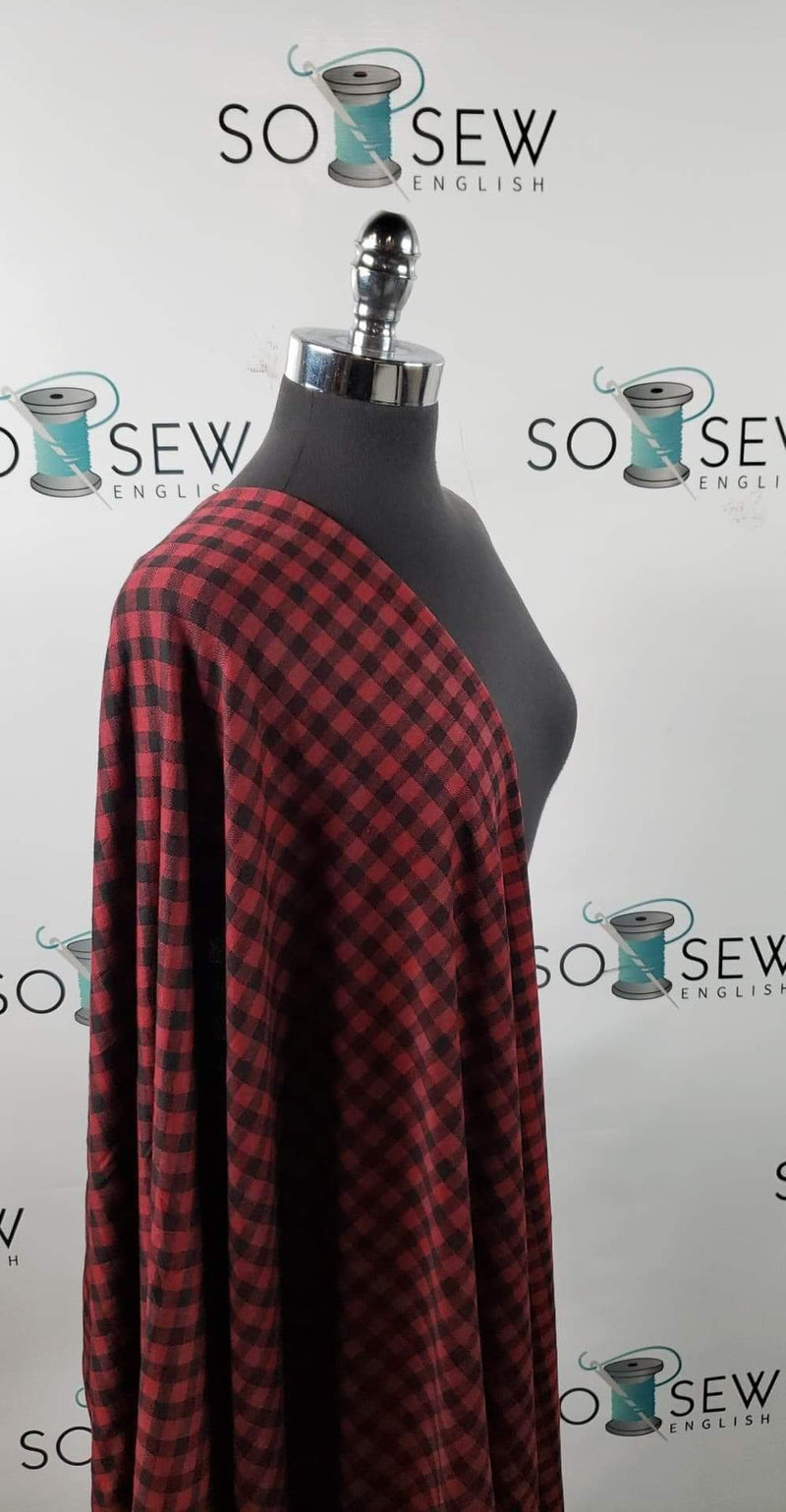 Wine/Black Plaid - DOUBLE Knit - By the yard