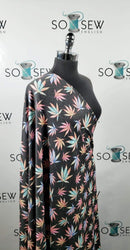 Soft Black/Tie Dye Cannabis - French Terry - By the yard