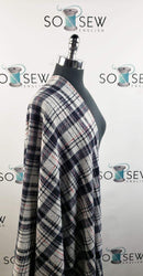 Grey/Navy Plaid - Brushed Hacci Sweater Knit - By The Yard