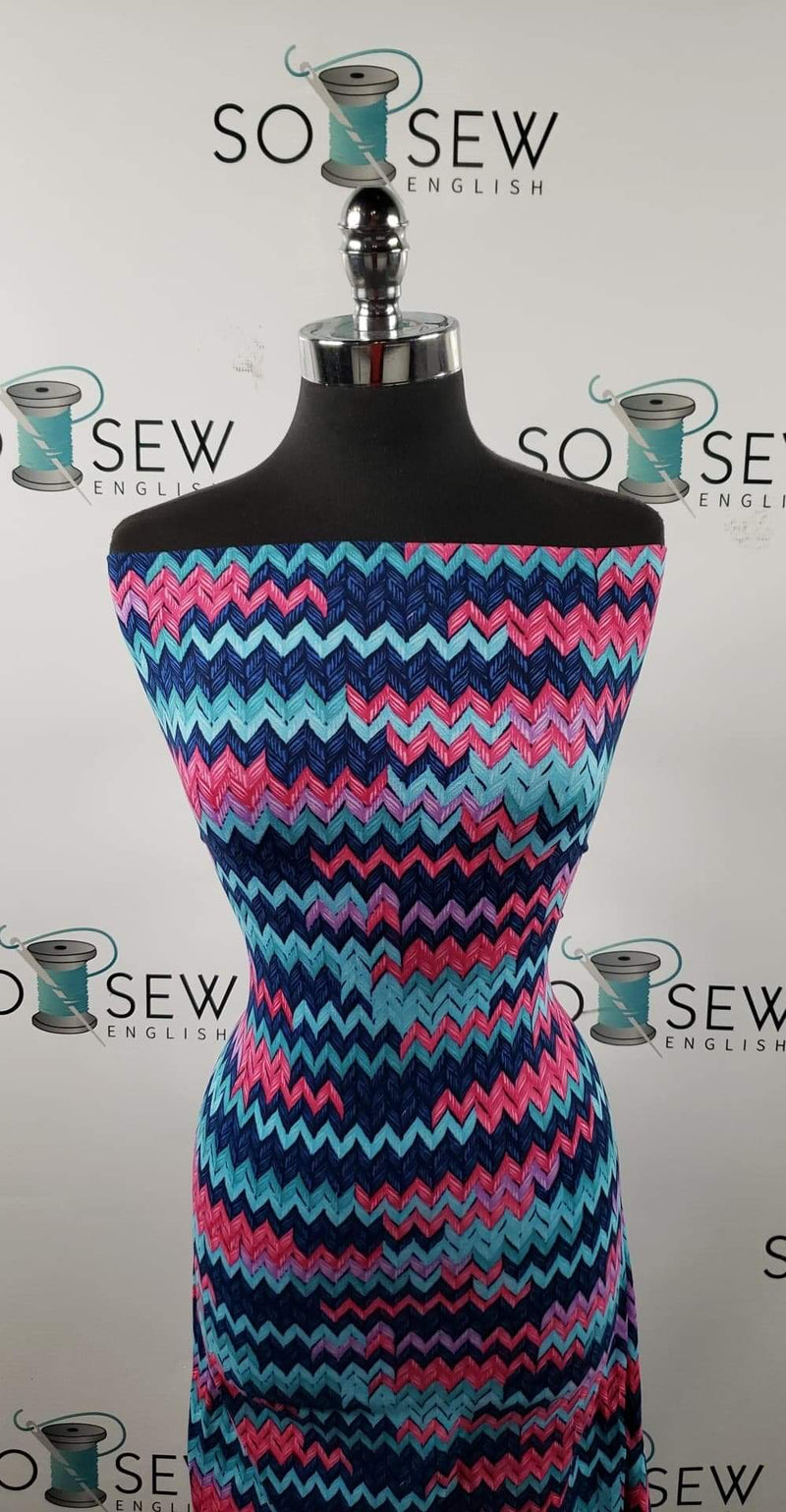 "Navy/Fuchsia ""KNIT PRINT""- Double Brushed Poly Spandex -By The Yard"
