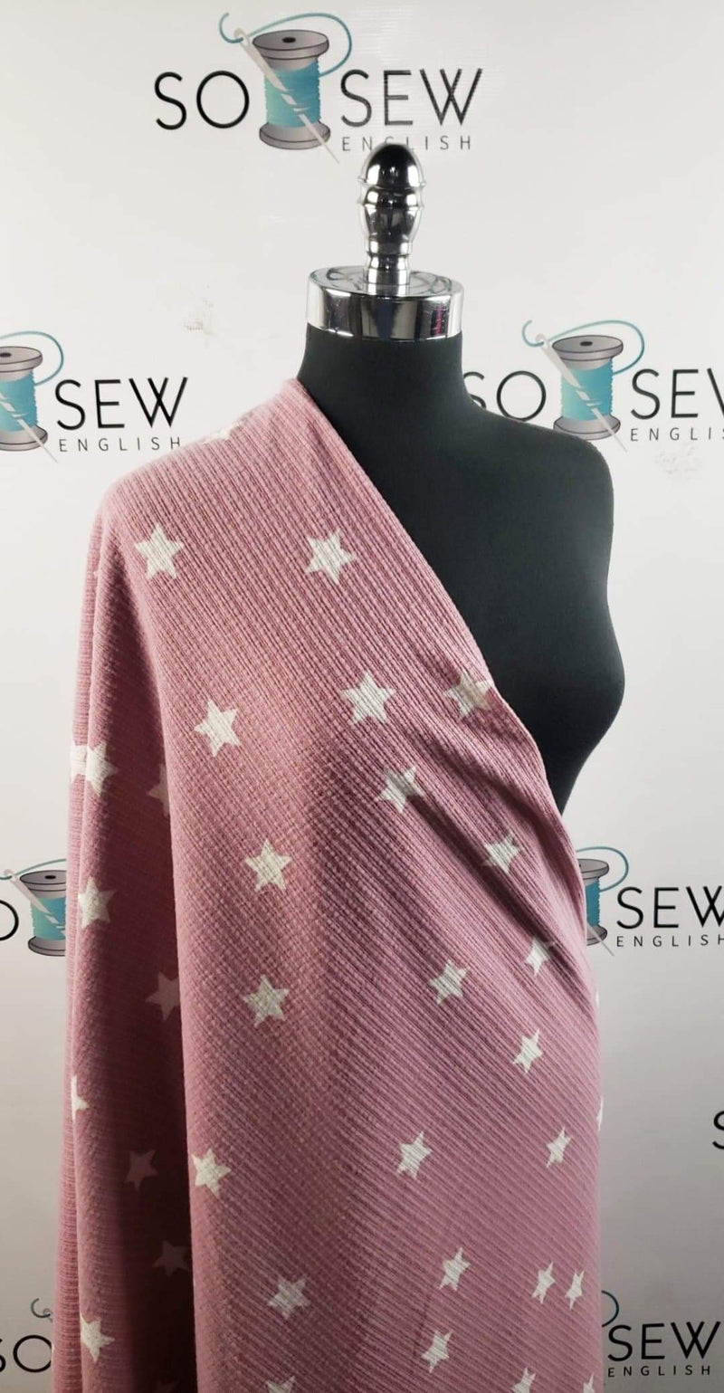 Pink/Ivory Stars - Brushed Rib Knit - By the yard