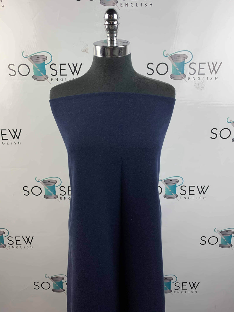 Solid Navy - Bamboo Spandex French Terry - By the yard