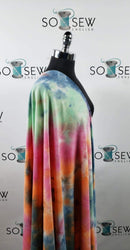 Orange/Blue/Green Tie Dye -French Terry- By the yard