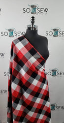 Red/Black/White Plaid - Flannel Woven - By the yard