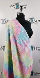 Pastel Yellow/Blue/Pink Tie Dye - Faux Fur - By The Yard