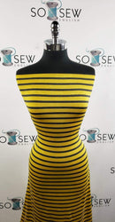 Mustard/Charcoal Stripe - Yarn Dyed Bamboo Knit - By the yard