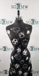 Black Splatter Sports Balls - Double Brushed Poly Spandex -By The Yard