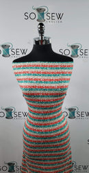 Red/Green/Gold Glitter Stripe - Double Brushed Poly Spandex -By The Yard (holiday)