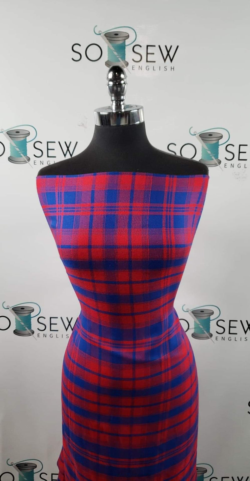 Red/Royal Plaid - Rayon Woven - By the yard