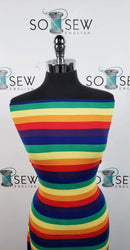 Rainbow Stripe - Double Brushed Poly Spandex -By The Yard