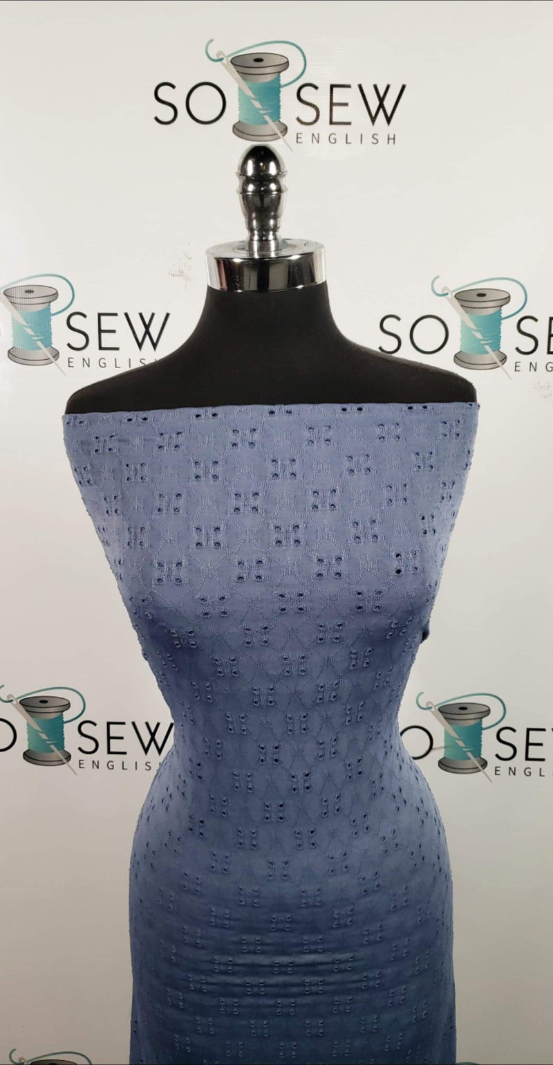 Solid Dusty Blue Eyelet - Poly Spandex Knit - By the yard