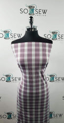 Grey/Burgundy Plaid - Nylon/Spandex PF/Swim -By The Yard