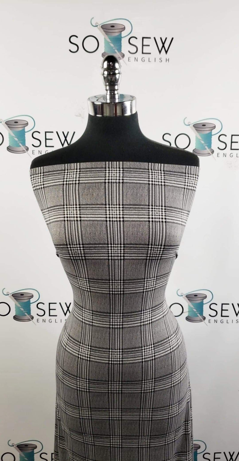 Black/Ivory Plaid Houndstooth - Double Brushed Poly Spandex - By The Yard