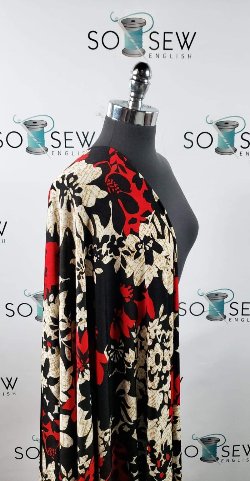 Black/Red Floral - Slinky Spandex - By the Yard