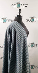 Teal Houndstooth  - Stretch Woven - By The Yard