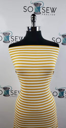 Mustard/Ivory Stripe - Double Brushed Poly Spandex -By The Yard
