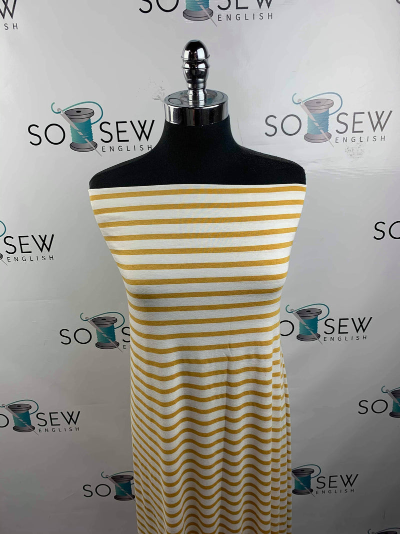 Ivory/Mustard Stripes - Yarn Dyed 220gsm Rayon Spandex -By the yard