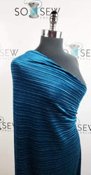 Solid Dark Teal - Pleated Stretch Velvet - By the yard