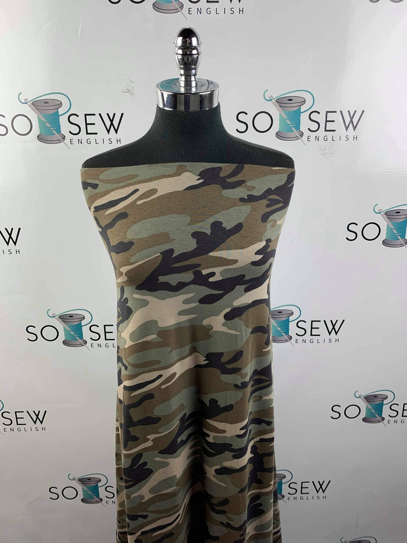 Olive Brown Camo -Cotton Spandex -By the Yard