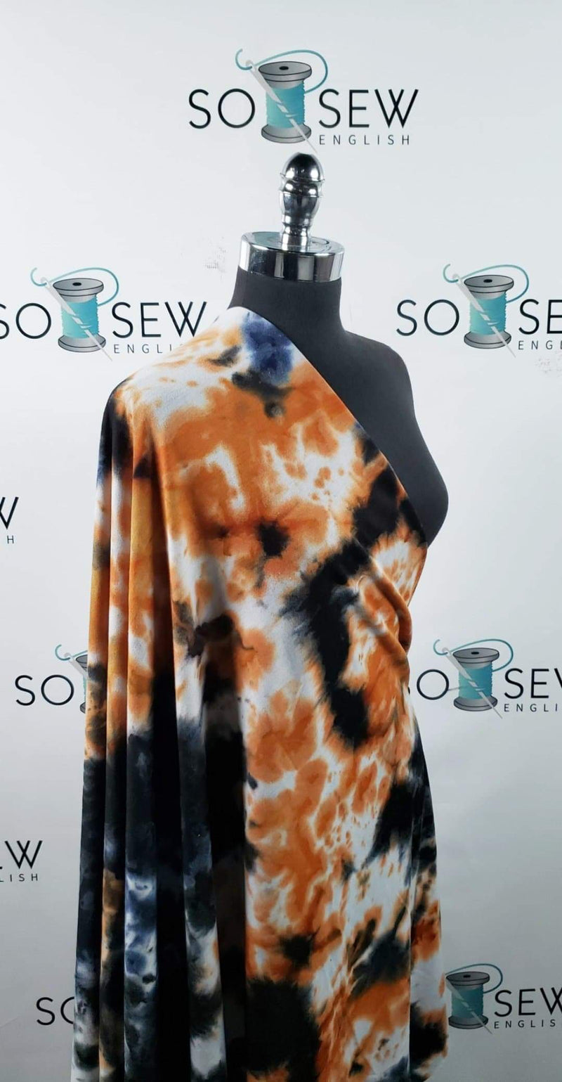 Navy/Black/Orange Tie Dye - French Terry - By the yard