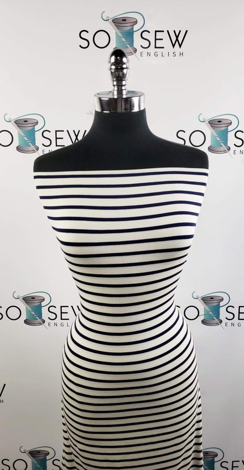 Ivory/Navy Stripe - Yarn Dyed Bamboo Knit - By the yard