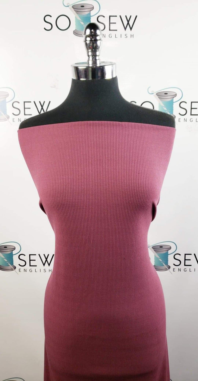 Solid Deep Mauve - Rib Rayon Spandex -By the yard
