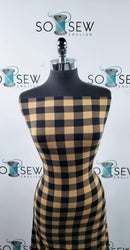 "1"" Taupe/Black Buffalo Plaid- Double Brushed Poly Spandex -By The Yard"