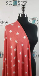 Red/Ivory Star -French Terry- By the yard