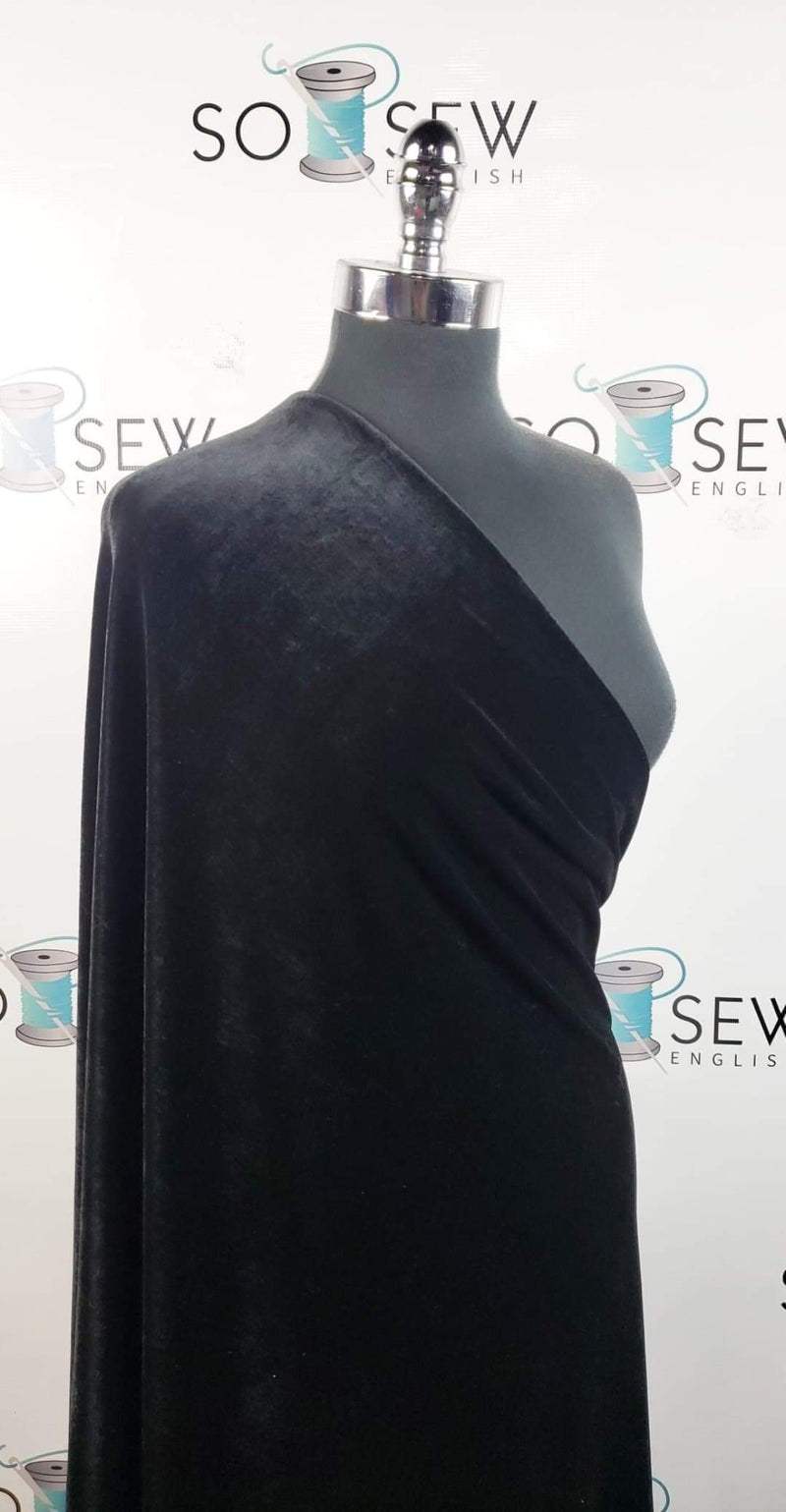 Solid Black - Stretch Velvet - By the yard