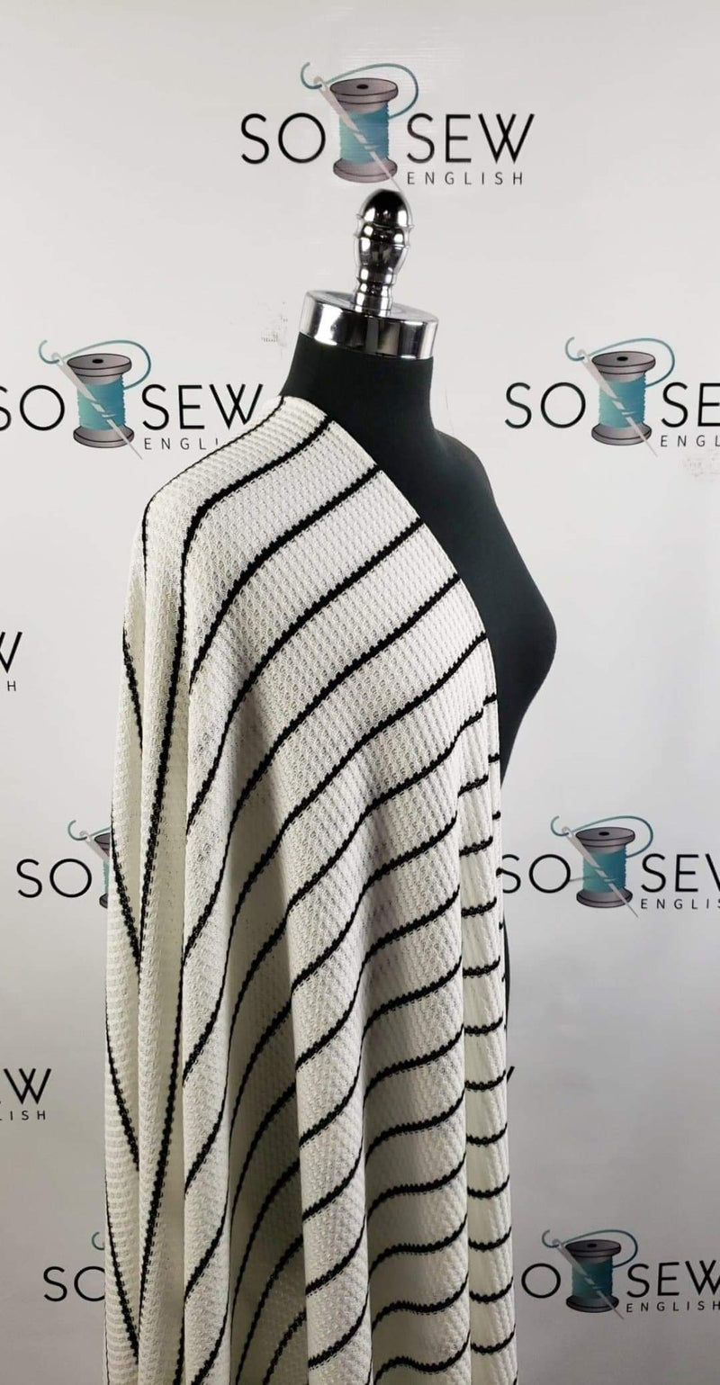 Ivory/Black Stripe -Waffle Knit - By the yard