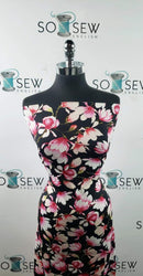 Black/Pink Flowers - Nylon/Spandex PF/Swim -By The Yard