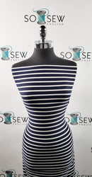 Navy/Ivory Stripe - Single Brushed Poly Spandex -By The Yard